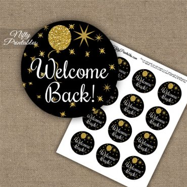 Welcome Back Cupcake Toppers - Balloons Black