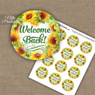 Welcome Back Cupcake Toppers - Sunflowers