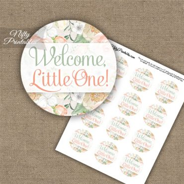 Welcome Little One - Baby Shower Toppers - Peach Floral