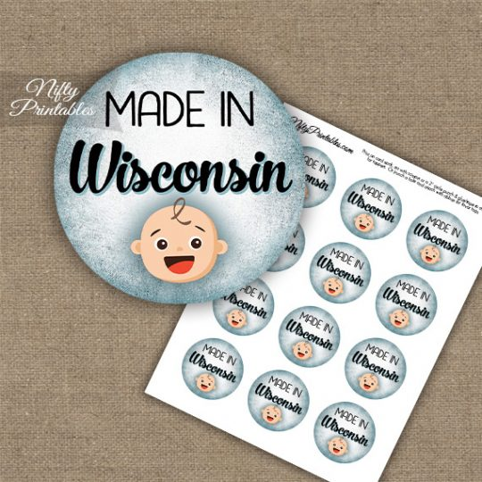 Wisconsin White Baby - Blue Cupcake Toppers